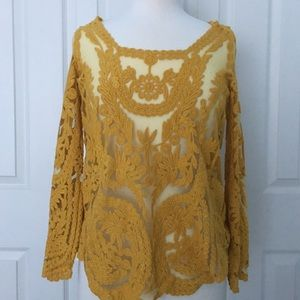 Origami By Vivien Yellow Lace Blouse Medium
